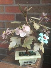 Vintage Asian Gemstone/Jadeite/Rose Quartz/Turquoise Bonsai Pink/Blue/Purple