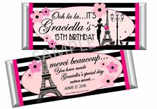 Paris Candy Bar Wrappers - Birthday, Sweet Sixteen, Bridal Shower