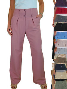 Ladies Wide Leg Smart Soft City Office Work Pleated Trousers NEW 10-22