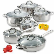 12 Piece Cookware Set Stainless Steel Cookware Set Kitchen (Pot and Pan)