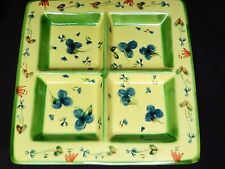 Nanette Vacher Ambiance Collection Guirlandes Bleues Square Divided Dish Platter