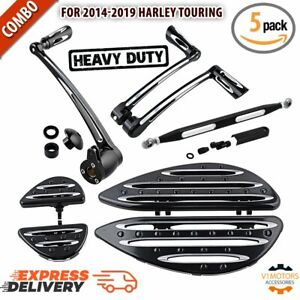 Toe Heel Shift Lever Shifter Pegs Compatible with Harley Touring FLH FLT 1997-2015 FL Softail 2000-2015 Driver Stretched Floorboards
