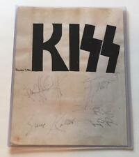KISS signed 11x14 page by all 4 (Stanley, Simmons, Carr, Kulick) BAS AUTOGRAPH !