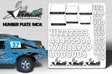 RC Number plate sticker pack 1/8 1/10 Scale body universal fit race decals-White