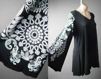 Ethnic Henna Design Flare Sleeve Travel Black Shirt Blouse 296 mvp Tunic S M L