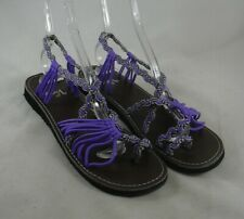 Vines Purple & Black Strappy Rope Thong Womens Sandals 12