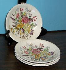 LOT OF 4 JOHNSON BROS WINDSOR WARE GARDEN BOUQUET SAUCERS NEVER USED