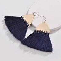 2018 Fall 5 colors Fashion Cotton Multiple Tassel Fan Fringe Women Drop Earrings