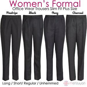 Women's Ladies Formal Pants Office Workwear Business Trousers Slim Leg Plus Size