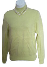 Celery Green Cashmere Mock Turtleneck Size S Small Sweater Flaw Stain Soft