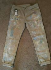 NWT Women's Polo Ralph Lauren Slim Astor Boyfriend Paint Splatter Jeans Sz 27