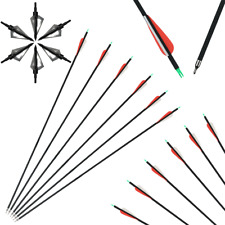Archery 30inch Carbon Arrow with Replaceable Arrowhead Spine 550 for Recurve Bow