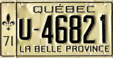 ❤❤❤❤ AUTHENTIC CANADA 1971 QUEBEC LICENSE PLATE.  U-46821