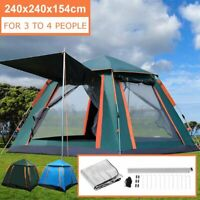 3-4 People Auto Instant Tent Waterproof Camping Hiking Family Shelter Outdoor