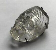 Sterling Silver Face Mask Brooch Pin Vintage Japanese Signed Carved Rock Crystal