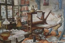 "Anton Pieck (Dutch, 1895-1987).  Small framed print of ""The Printers""."