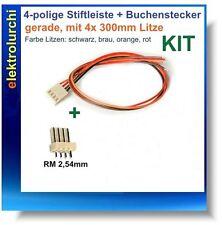4-polig Stiftleiste + Buchsenstecker + Kabel 300mm AWG24, KIT, gerade, RM 2,54