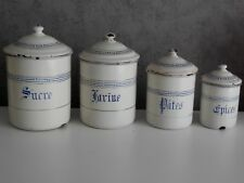 Antique French Enamel CANISTER SET - CREAMY WHITE - Blue ART DECO  - 4 items