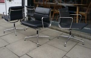 Vitra EA 208 black leather chrome based soft-pad chair by Charles & Ray Eames