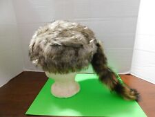 Davy Crockett / Daniel Boone Light Colored Coon Skin Hat W/Real Coon Tail Nice