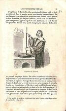 Expérience Evangelista Torricelli Barometer Baromètre GRAVURE ANTIQUE PRINT 1883