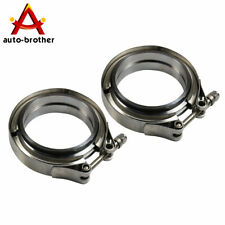 3'' 2 Pcs V-Band Flange & Clamp Kit Stainless Steel For Turbo Exhaust Downpipes
