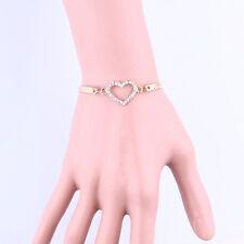 Lovely Girl Gold Crystal Rhinestone Love Heart Bangle Cuff Bracelet Jewelry New