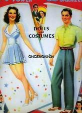Vintage Uncut 1941 Tyrone Power & Linda Darnell Paper Dolls~#1 Reproduction~Rare