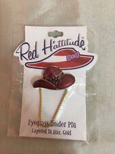 Red Hattitude Hat Society Eyeglass Holder Pin Brooch 18 kt Gold Finish Flower
