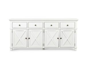 White Timber Buffet With 3 Drawer And 3 Doors / White Sideboard Storage Unit