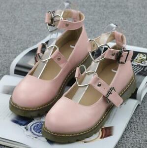 Ladies Lolita Flats Heart Metal Decor Buckle Strap Mary Janes Light Pumps Cute