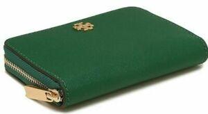 L@@K! NWT Tory Burch Emerson Zip Coin Case Wallet Emerald Stone/314  Green