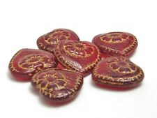 18mm Gold Washed Ruby Red Czech Glass Heart Beads (6) #3093