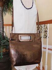 MICHAEL KORS Berkley Python Embossed Leather Crossbody/Clutch Bag Bronze