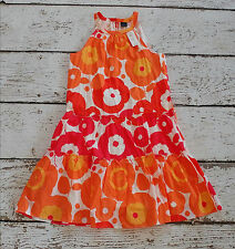 GAP Girls Orange Red Floral Sun Dress Large 10 NEW NWT