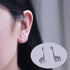 1 Pair Delicate Giraffe Earrings Sweet Style Silver Ear Studs Jewelry Decoration
