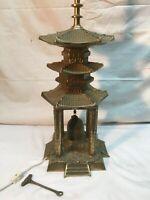Vintage 3 Tier Pagoda Brass Bell 3way Desk Lamp  Asian  Vtg Mid Century