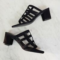 [ SOLSANA ]  Womens Black Spencer Mules Cage Heels Shoes RRP$179 | Size EUR 38
