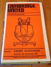 CAMBRIDGE UNITED V CREWE ALEXANDRA - DIV 4 - 4/9/1971