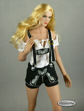 1/6 Scale Phicen, FG - Female White Blouse & Black Shorts Lederhosen Uniform Set