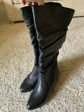 Women's Black Slouchy Faux Leather Knee High Boots Size 6