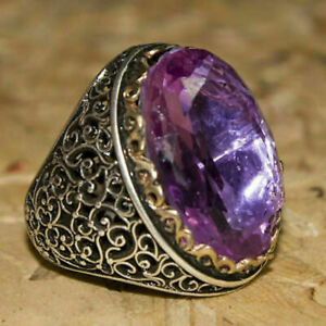 925 Sterling Silver Certified Handmade Purple Amethyst Valentines Mens Gift Ring