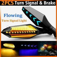 2x Flowing Motorcycle LED Turn Signal Indicator Blinker Amber Lights Universal