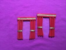 "2 bright red  dolls house curtains 3.5"" x 4"""