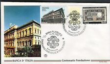 ITALY 1993 BANK of ITALY CENT/PALACE/ARCHITECTURE/OLD NOTE/EMBLEM/FINANCE FDC