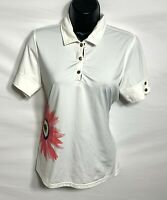 Fairway & Greene Women's Collared Shirt. Size S. White Flower.