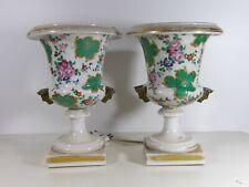 PORCELAINE DE PARIS Paire de grands Vases Lampes Medicis decor Floral XIXe