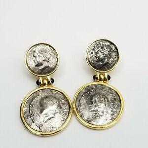 Dangle Pierced Earrings Faux Coin Style Estate Jewelry 2-Tone