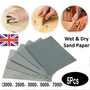 5x Wet&Dry Grit 2000 2500 3000 5000 7000 Car Paint Sand Paper Mixed Assorted UK