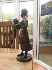 Large Vintage Bronze Figurine of Young Girl, Reproduction Augusto Murer? Signed